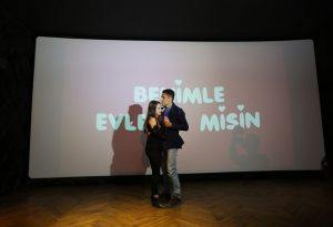the couple who were holding each other began to dance in the cinema in izmir in Turkey